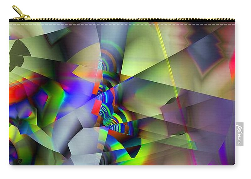 Fractal Carry-all Pouch featuring the digital art Fractal Cubism by Ron Bissett