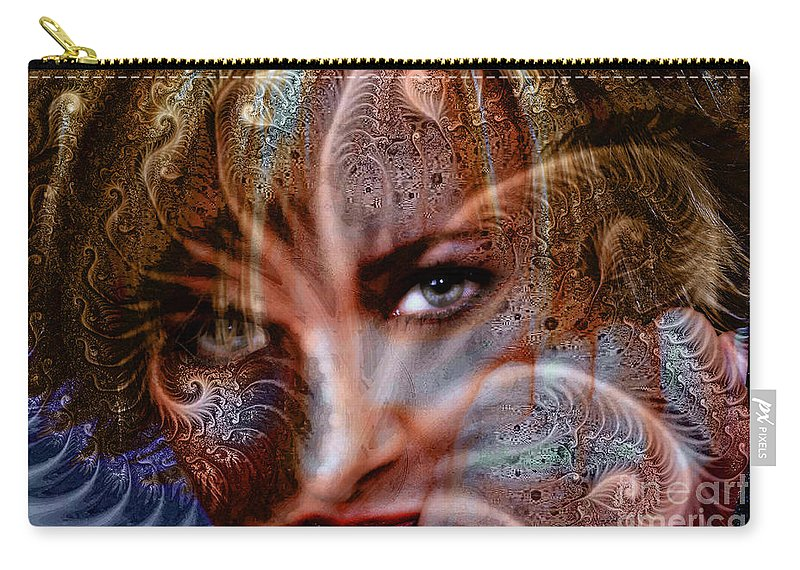 Clay Carry-all Pouch featuring the digital art Fractal Eyes by Clayton Bruster