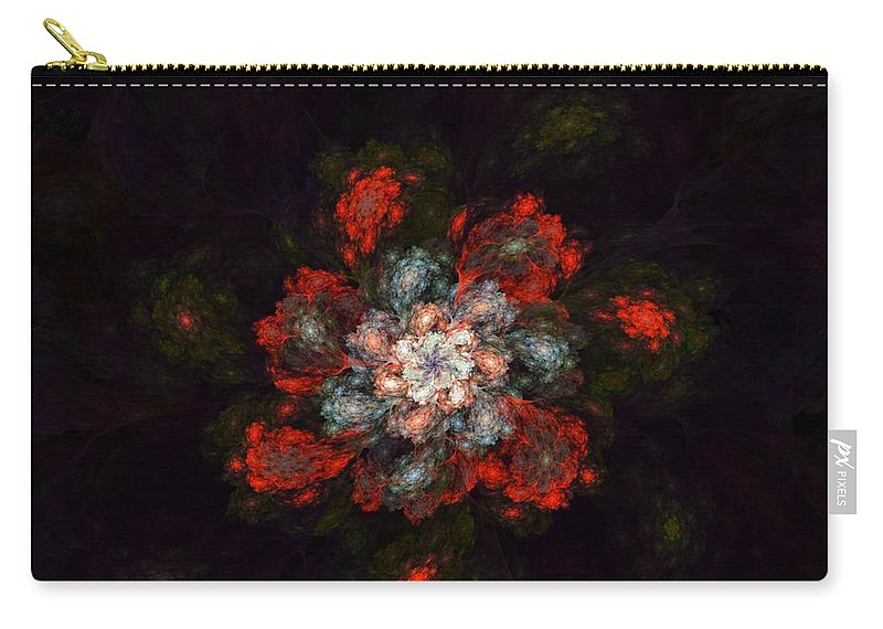 Digital Painting Carry-all Pouch featuring the digital art Fractal Floral 02-12-10-a by David Lane