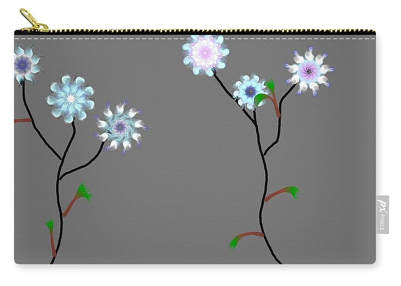 Digital Painting Carry-all Pouch featuring the digital art Fractal Floral 10-21-09 by David Lane