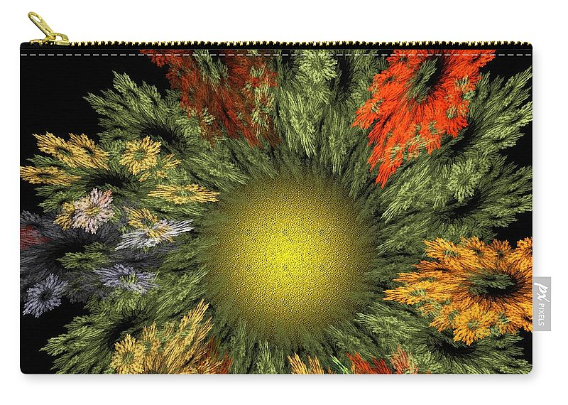 Fantasy Carry-all Pouch featuring the digital art Fractal Floral 12-05-09 by David Lane