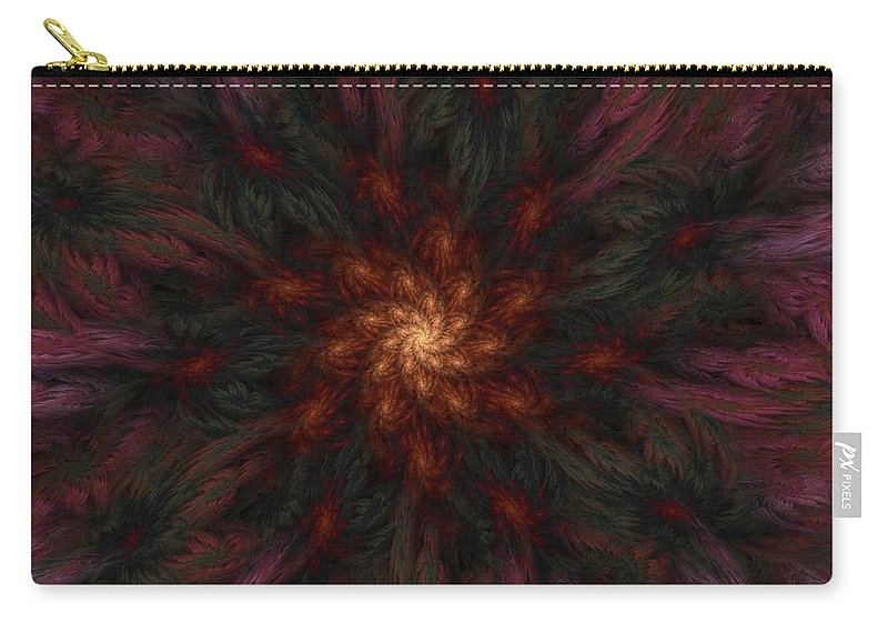 Digital Painting Carry-all Pouch featuring the digital art Fractal Floral Fantasy 02-13-10-b by David Lane