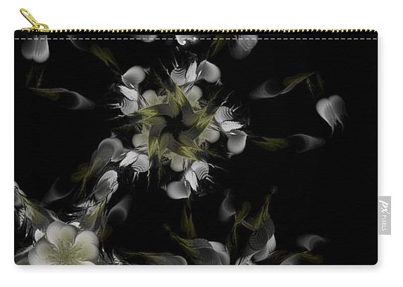 Digital Photograph Carry-all Pouch featuring the digital art Fractal Floral Pattern Black by David Lane