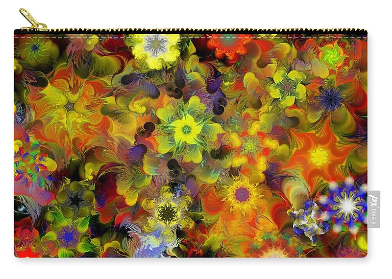 Digital Painting Carry-all Pouch featuring the digital art Fractal Floral Study 10-27-09 by David Lane