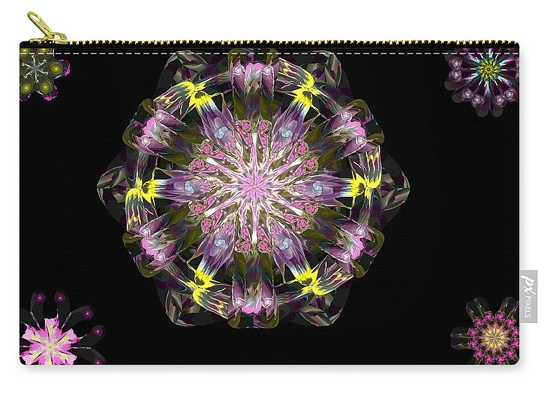 Digital Painting Carry-all Pouch featuring the digital art Fractal Flowers 10-20-09 by David Lane