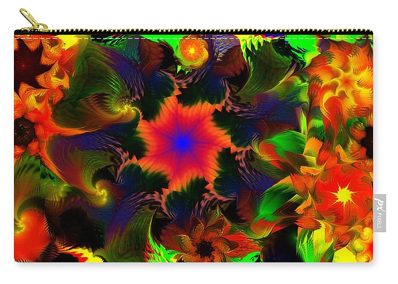 Abstract Digital Painting Carry-all Pouch featuring the digital art Fractal Garden 15 by David Lane