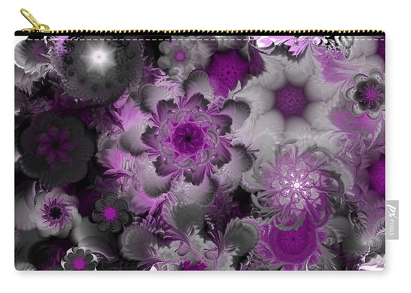 Abstract Digital Painting Carry-all Pouch featuring the digital art Fractal Garden 4 by David Lane
