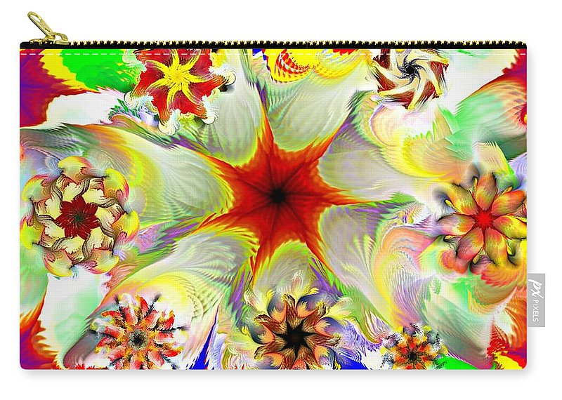 Abstract Digital Painting Carry-all Pouch featuring the digital art Fractal Garden 9 by David Lane