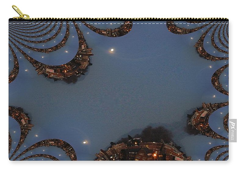Moon Carry-all Pouch featuring the digital art Fractal Moon by Tim Allen