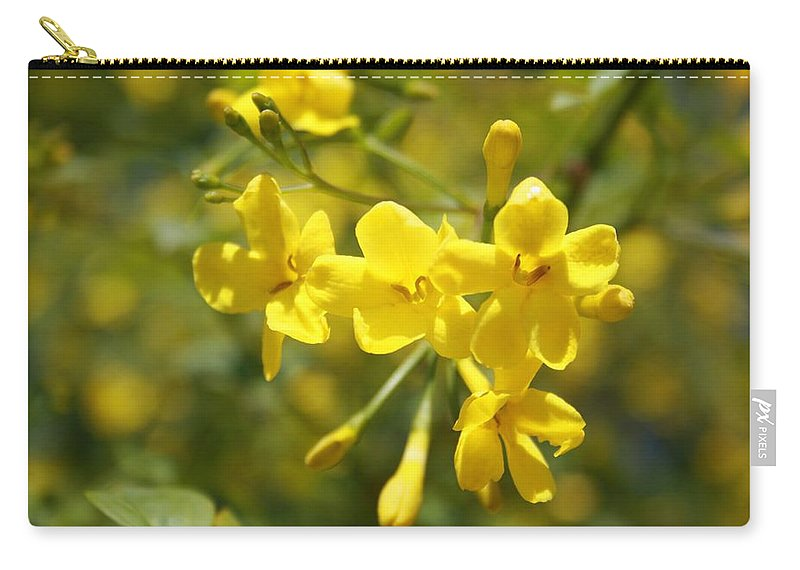 Carolina Carry-all Pouch featuring the photograph Fragrant Yellow Flowers Of Carolina Jasmine by Taiche Acrylic Art