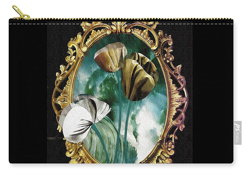 Floral Carry-all Pouch featuring the mixed media Framed Flowers by Sarah Loft