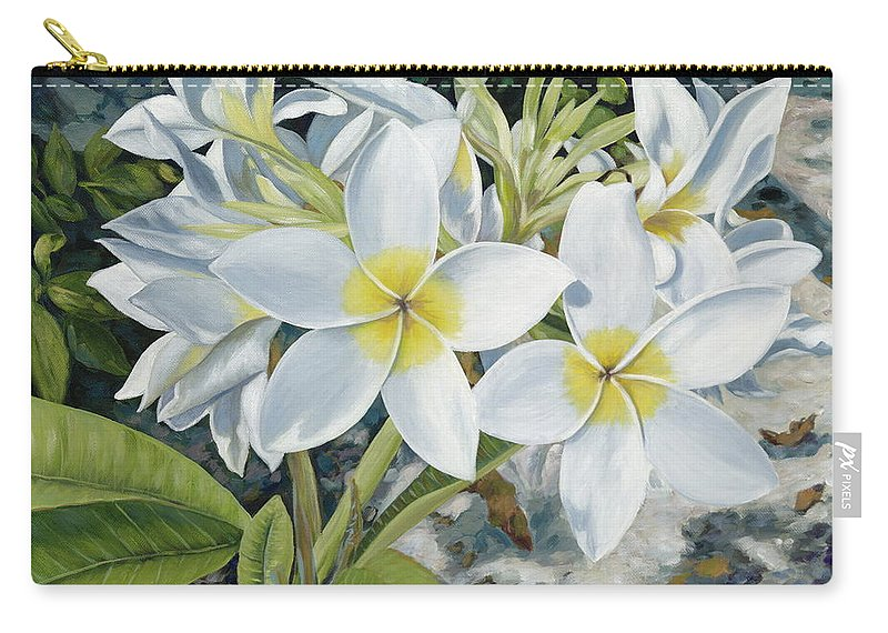 Frangipani Carry-all Pouch featuring the painting Frangipani by Danielle Perry