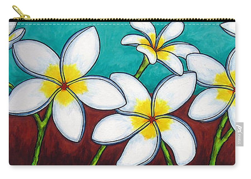 Frangipani Carry-all Pouch featuring the painting Frangipani Delight by Lisa Lorenz