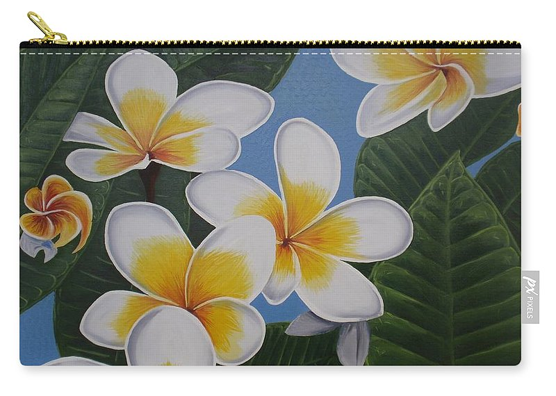 Paintings Carry-all Pouch featuring the painting Frangipani II by Tatjana Popovska