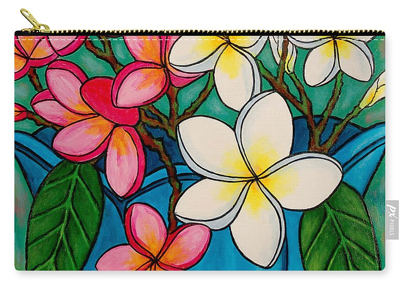 Frangipani Carry-all Pouch featuring the painting Frangipani Sawadee by Lisa Lorenz