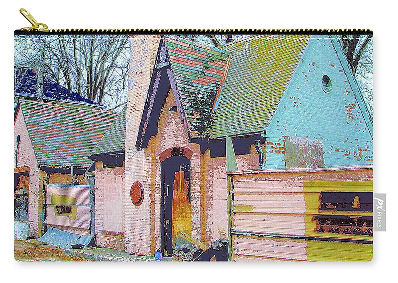 Old House Carry-all Pouch featuring the mixed media Frank Lloyd Wrong by Dominic Piperata