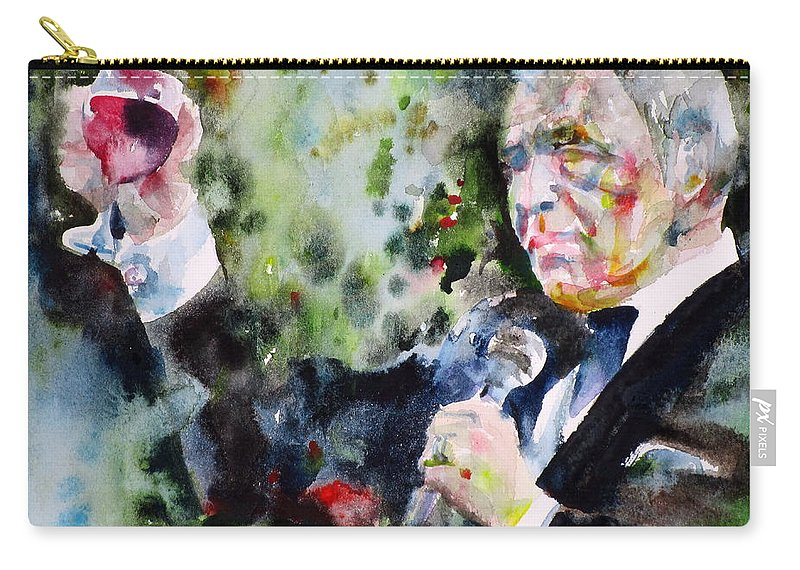 Frank Carry-all Pouch featuring the painting Frank Sinatra - Watercolor Portrait.5 by Fabrizio Cassetta