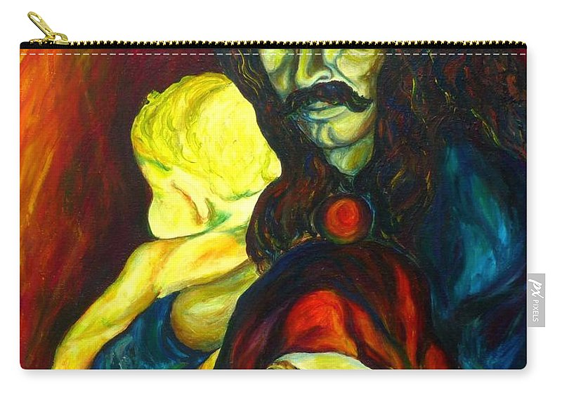 Frank Zappa Carry-all Pouch featuring the painting Frank Zappa  by Carole Spandau