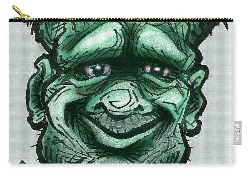 Frankenstein Carry-all Pouch featuring the greeting card Frankenstein by Kevin Middleton