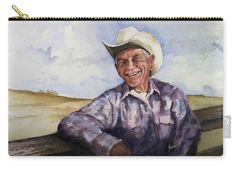 Cowboy Smile Friendly Happy Texan Texas Music Fiddler Carry-all Pouch featuring the painting Frankie by Sam Sidders