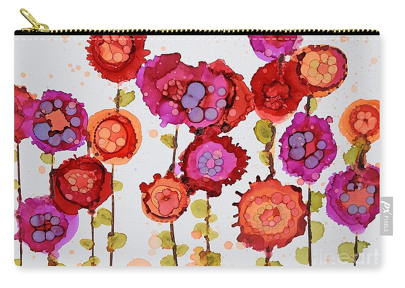 Floral Carry-all Pouch featuring the painting Frantic Flowers by Beth Kluth