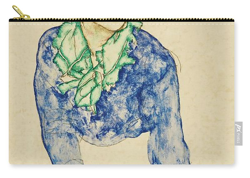 Egon Schiele 1890 - 1918 Frauenbildnis Mit Blauem Und Gr�nem Halstuch (portrait Of A Woman With Blue And Green Scarf) Carry-all Pouch featuring the painting Frauenbildnis Mit Blauem Und Grunem by MotionAge Designs
