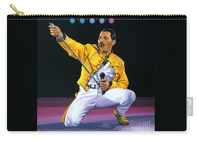 Freddie Mercury Carry-all Pouch featuring the painting Freddie Mercury Live by Paul Meijering
