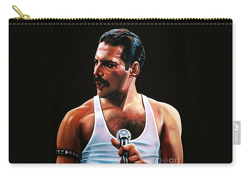 Freddie Mercury Carry-all Pouch featuring the painting Freddie Mercury by Paul Meijering