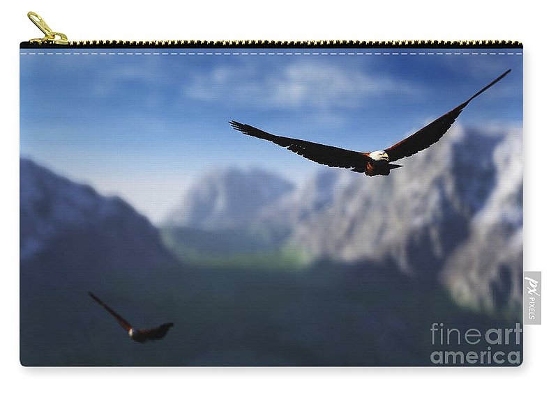 Eagles Carry-all Pouch featuring the digital art Free Bird by Richard Rizzo