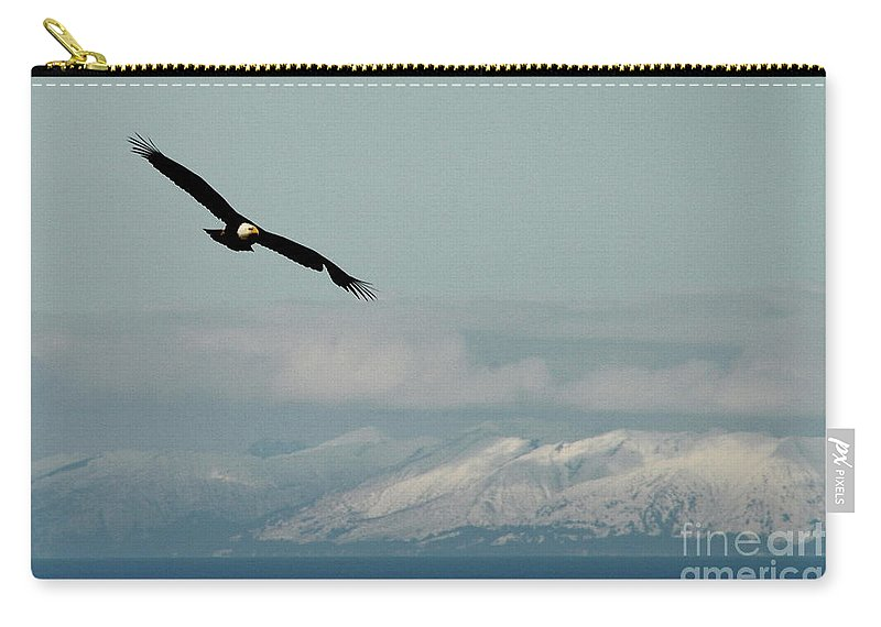 Eagle Carry-all Pouch featuring the photograph Free Flight by Rick Monyahan