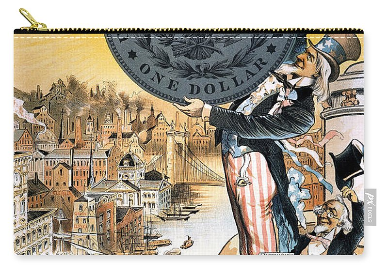 1890 Carry-all Pouch featuring the photograph Free Silver Cartoon, 1890 by Granger