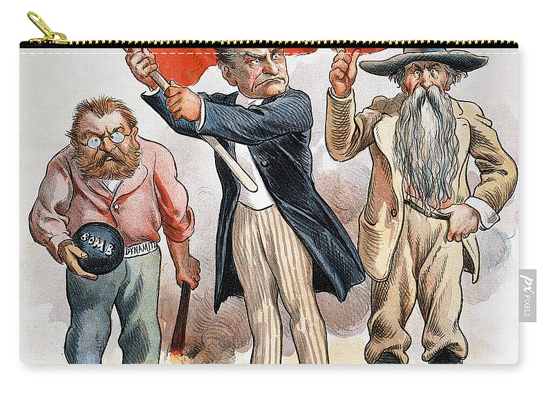 1896 Carry-all Pouch featuring the photograph Free Silver Cartoon, 1896 by Granger