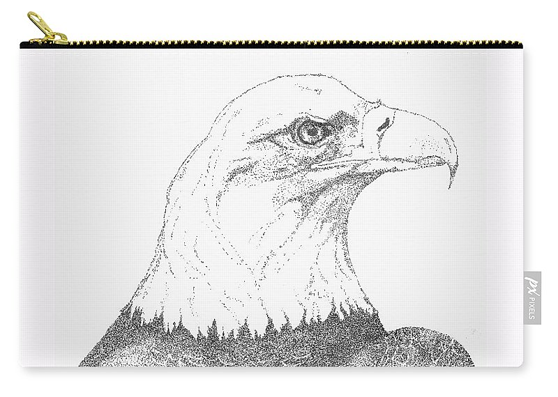 Eagle Carry-all Pouch featuring the drawing Freedom by Debra Sandstrom