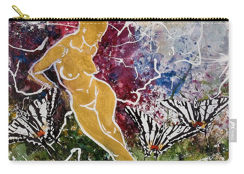 Nude Carry-all Pouch featuring the painting Freedom by Elisabeta Hermann