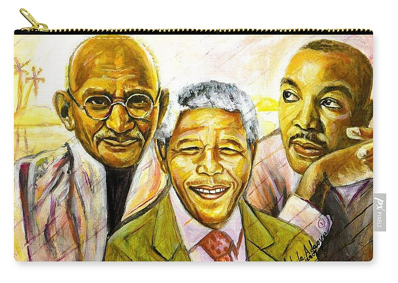 Portrait Paintings Carry-all Pouch featuring the painting Freedom Hero by Wale Adeoye