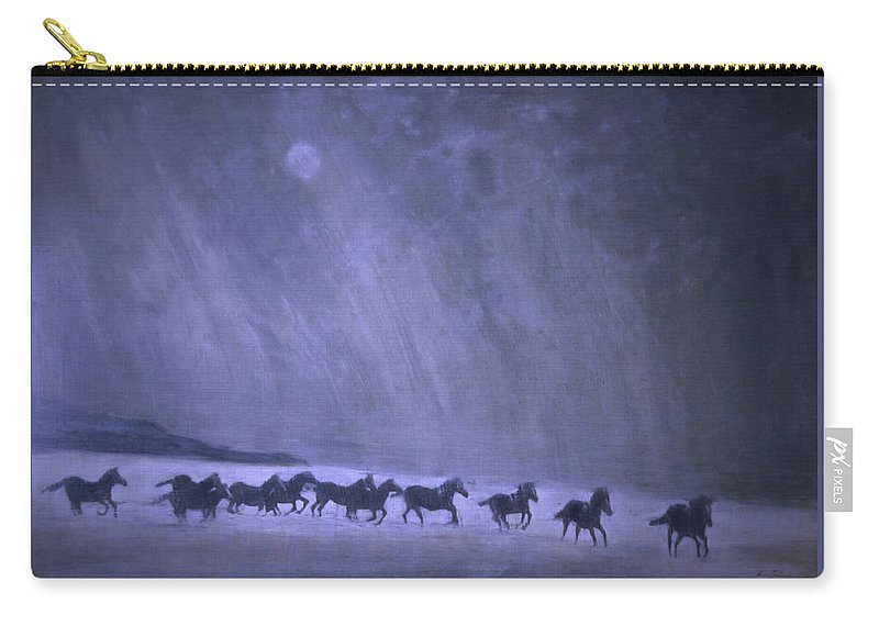 Horse Carry-all Pouch featuring the painting Freedom by Jarmo Korhonen aka Jarko