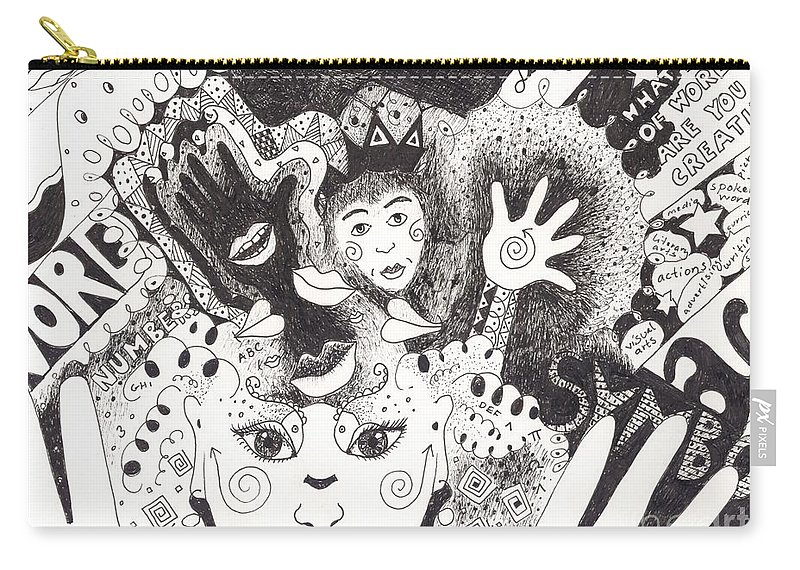 Speech Carry-all Pouch featuring the drawing Freedom Of Speech by Helena Tiainen