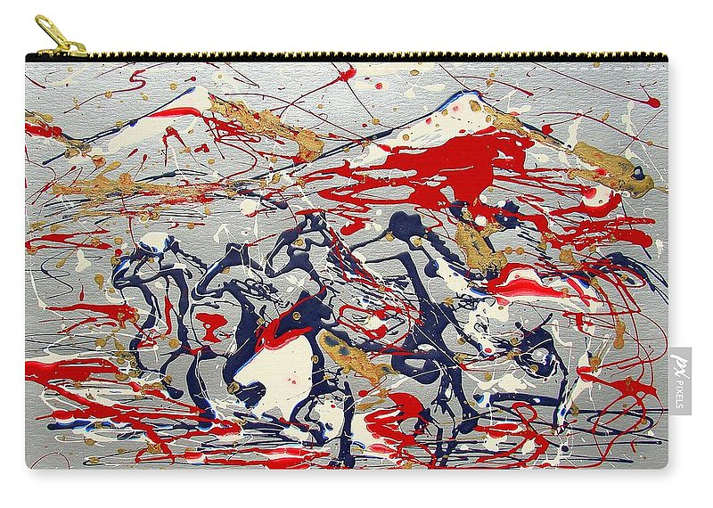 Impressionist Painting Carry-all Pouch featuring the painting Freedom On The Range by J R Seymour