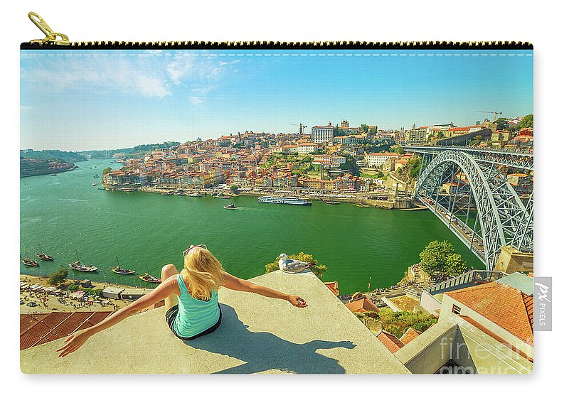 Porto Carry-all Pouch featuring the photograph Freedom Woman At Douro River by Benny Marty