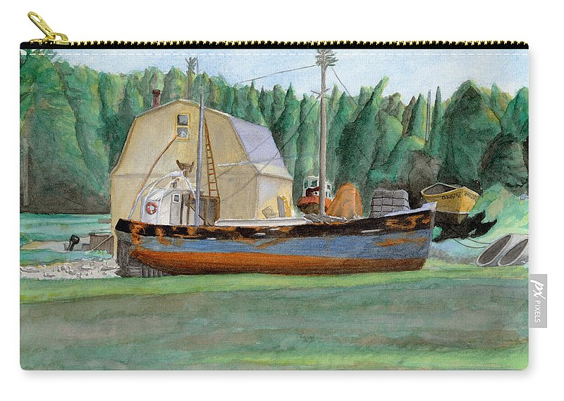 Fishing Boat Carry-all Pouch featuring the painting Freeport Fishing Boat by Dominic White