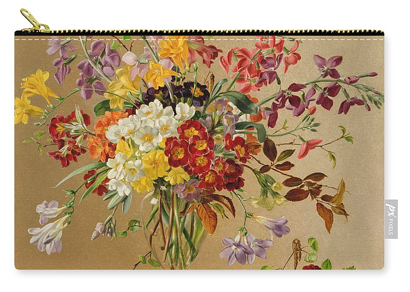 Primula Carry-all Pouch featuring the painting Freesias And Primroses by Albert Williams