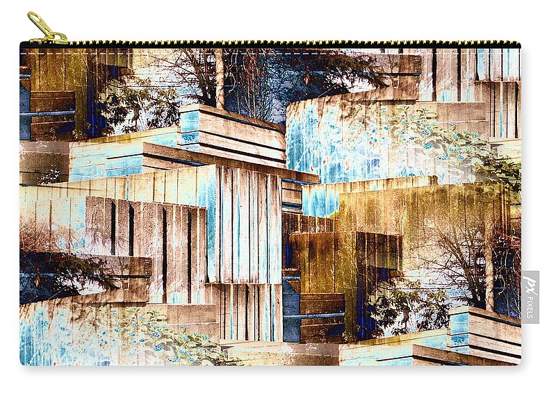 Seattle Carry-all Pouch featuring the digital art Freeway Park by Tim Allen