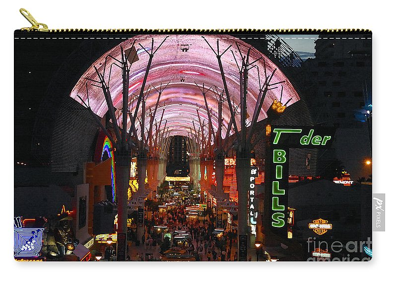 Fremont Street Carry-all Pouch featuring the photograph Fremont Street by David Lee Thompson