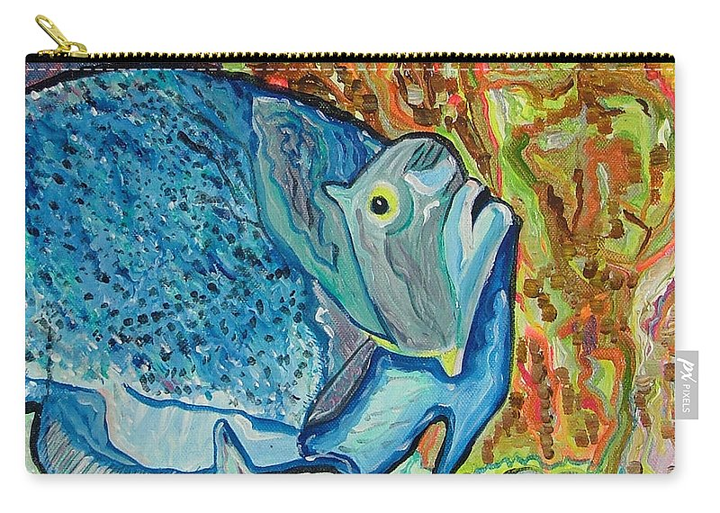 French Carry-all Pouch featuring the painting French Angle Fish by Heather Lennox