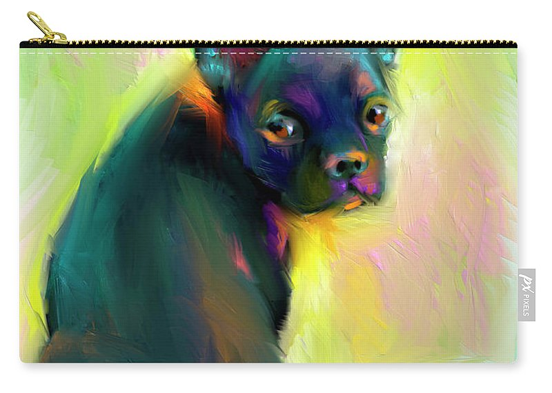 French Bulldog Painting Carry-all Pouch featuring the painting French Bulldog Painting 4 by Svetlana Novikova
