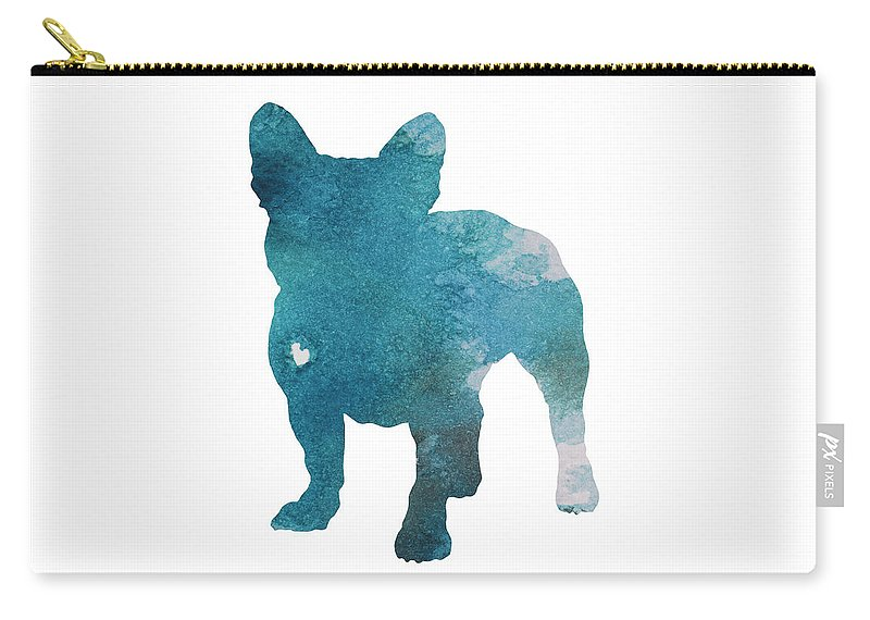 b5e16570a84d French Bulldog Silhouette Blue Kids Play Room Decor, Turquoise Frenchie  Print Nursery Boy Room Art Carry-all Pouch