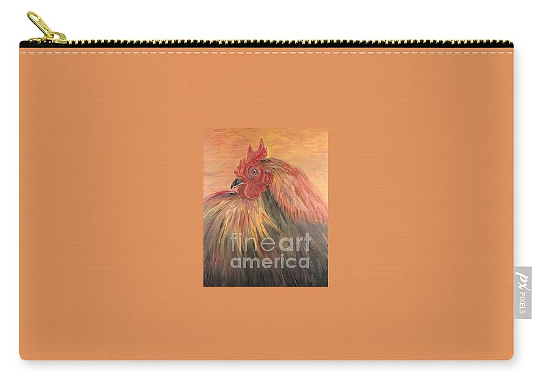 Rooster Carry-all Pouch featuring the painting French Country Rooster by Nadine Rippelmeyer