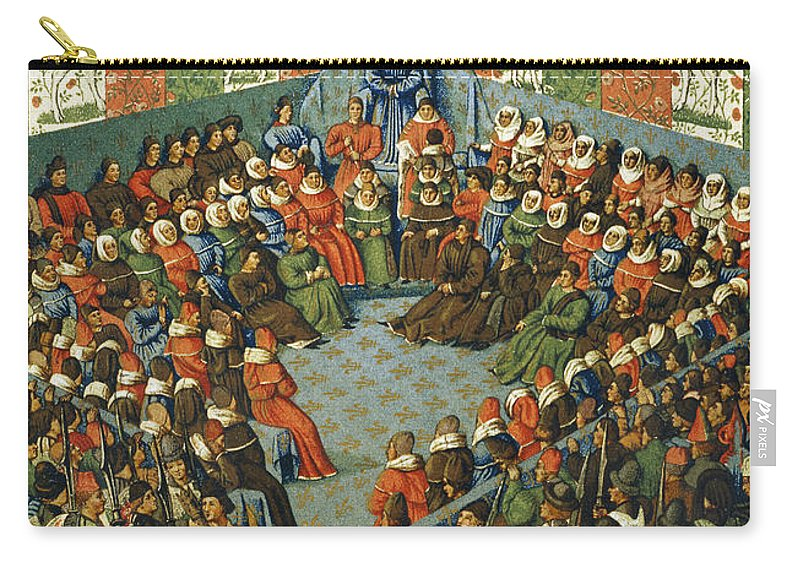 1458 Carry-all Pouch featuring the photograph French Court, 1458 by Granger