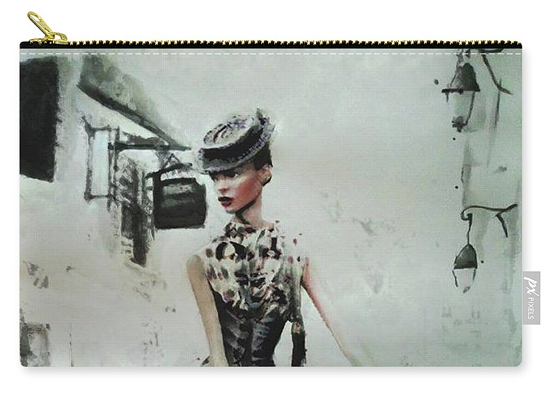 French Woman Fashion Imagery Carry-all Pouch featuring the painting French District by Anna Madarasz
