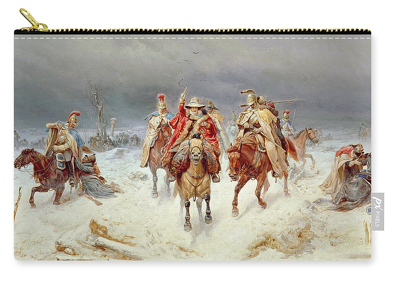 French Carry-all Pouch featuring the painting French Forces Crossing The River Berezina In November 1812 by Bogdan Willewalde